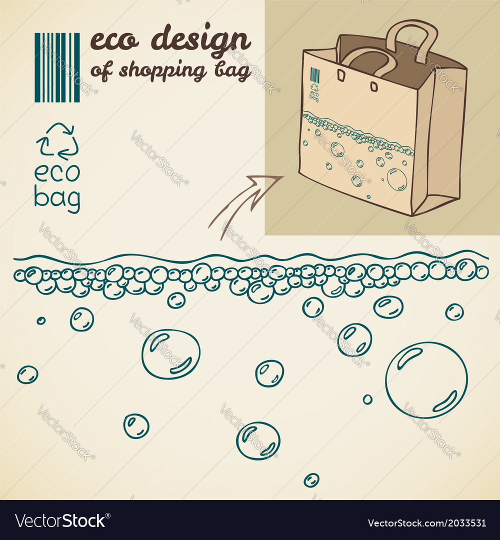 Line drawing of water bubbles for shopping bag vector | Price: 1 Credit (USD $1)