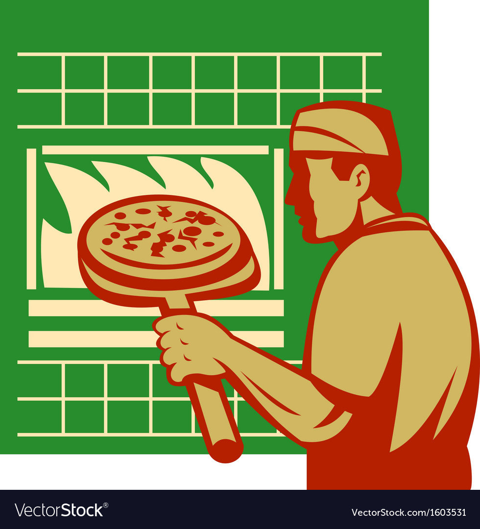 Pizza pie maker or baker holding baking pan oven vector | Price: 1 Credit (USD $1)