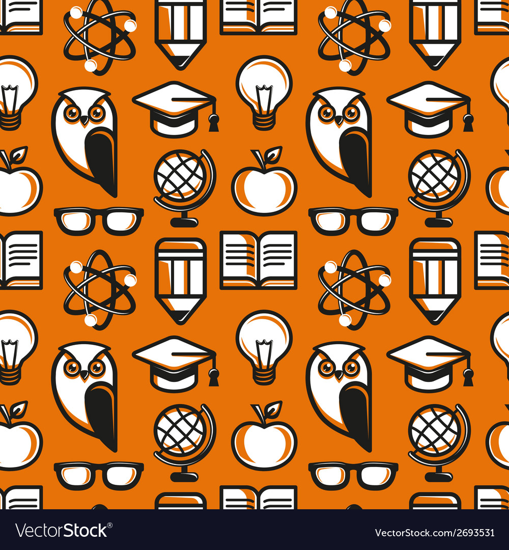 Seamless pattern in flat style with education icon vector | Price: 1 Credit (USD $1)