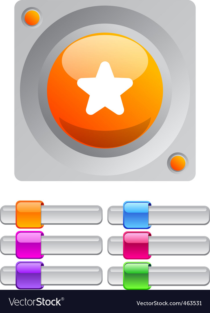 Star color round button vector | Price: 1 Credit (USD $1)
