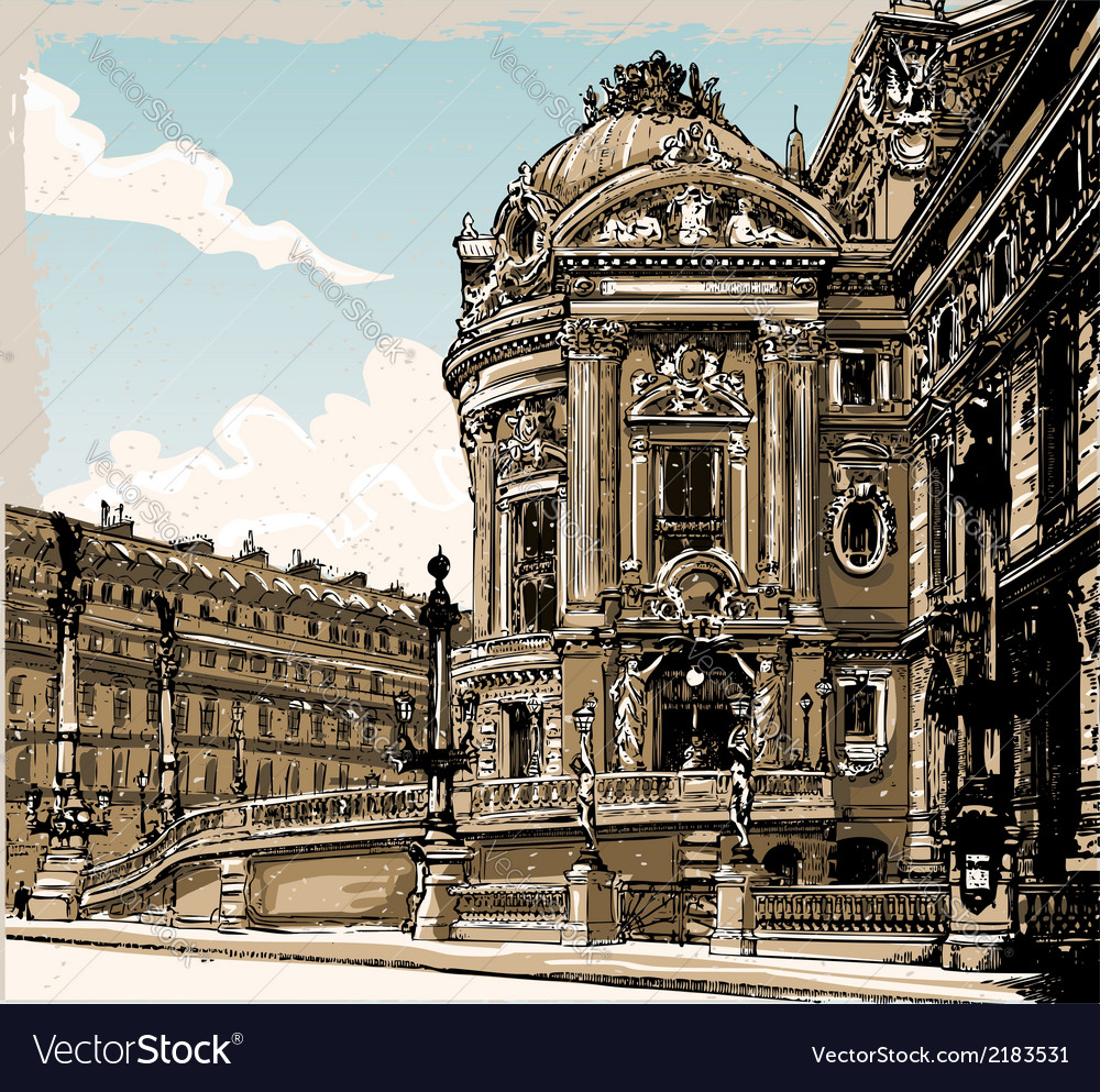 Vintage hand drawn view of opera in paris vector | Price: 3 Credit (USD $3)