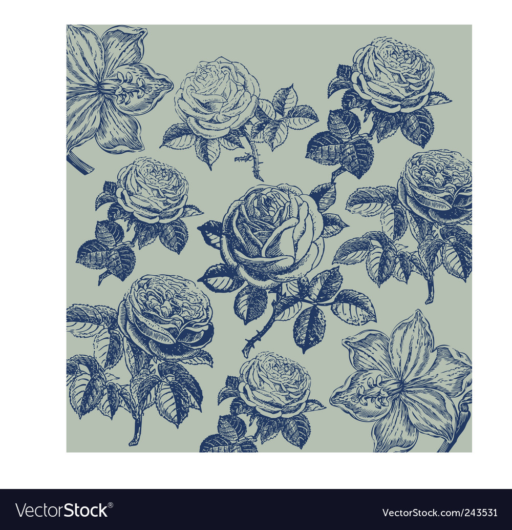 Wallpaper with flower pattern vector | Price: 1 Credit (USD $1)