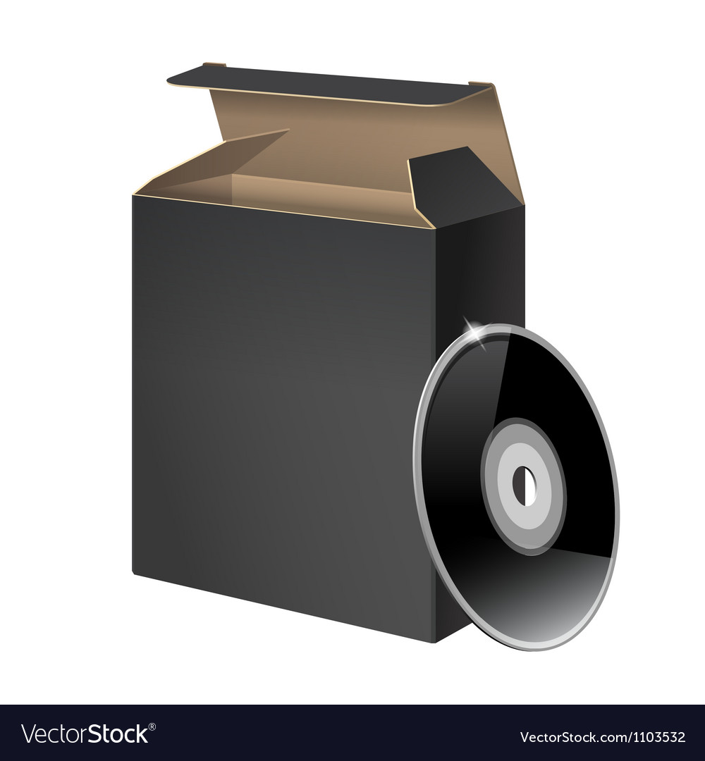 Black glossy package box with dvd vector | Price: 1 Credit (USD $1)