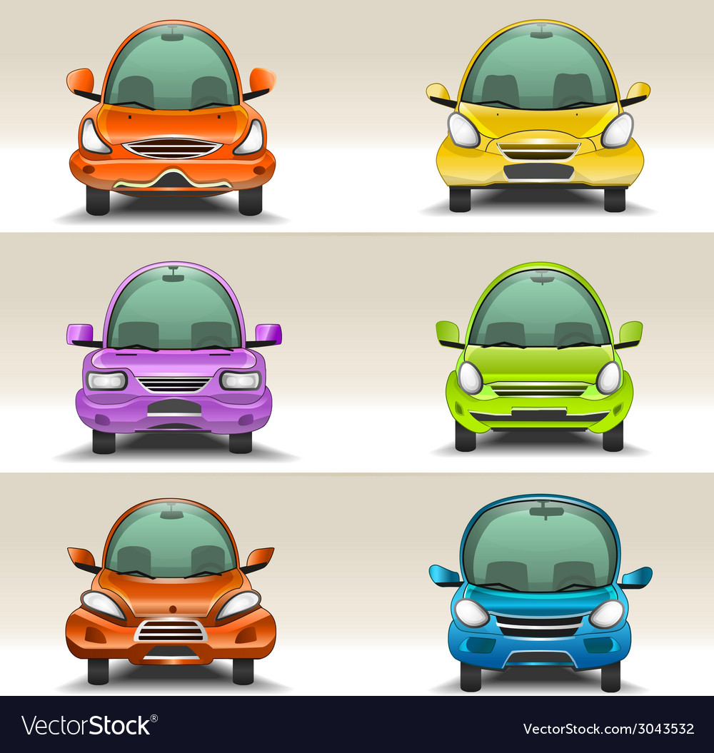 Colorful cartoon cars front view vector | Price: 1 Credit (USD $1)