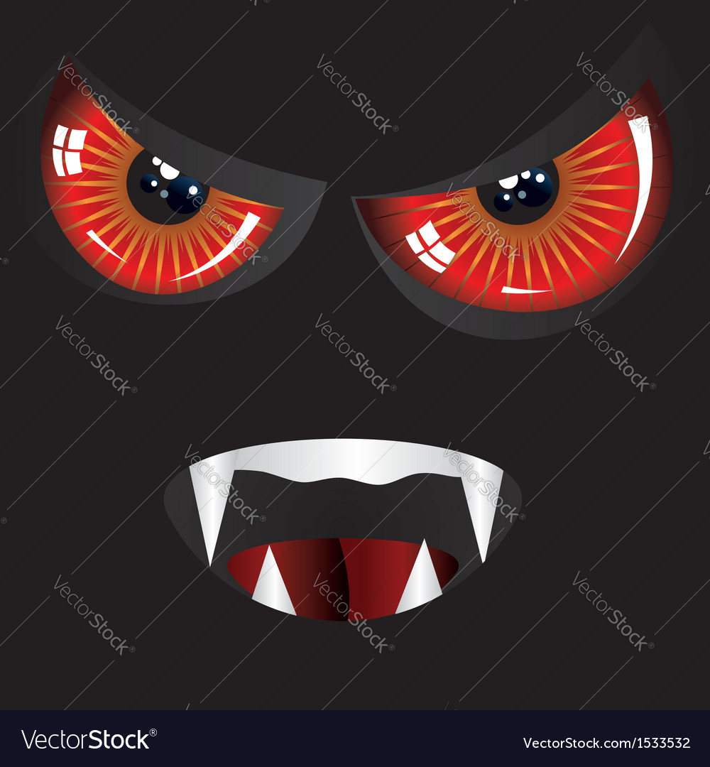 Evil face with red eyes vector | Price: 1 Credit (USD $1)