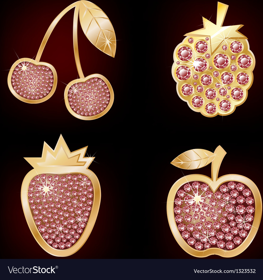 Icons of fruit decorated with diamonds vector | Price: 1 Credit (USD $1)
