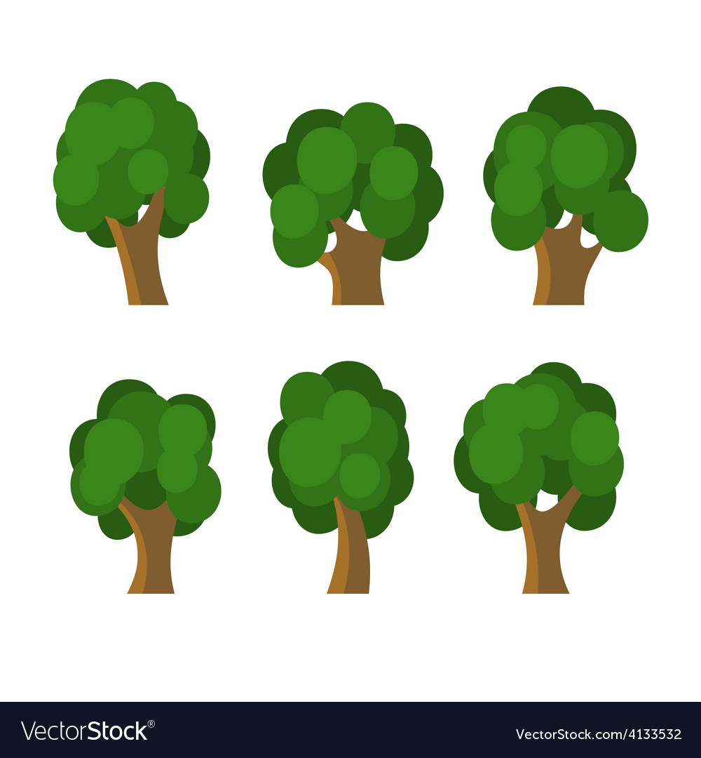 Set of different green trees icons vector | Price: 1 Credit (USD $1)