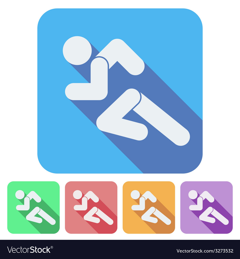 Set of flat icon with running people simple symbol vector | Price: 1 Credit (USD $1)