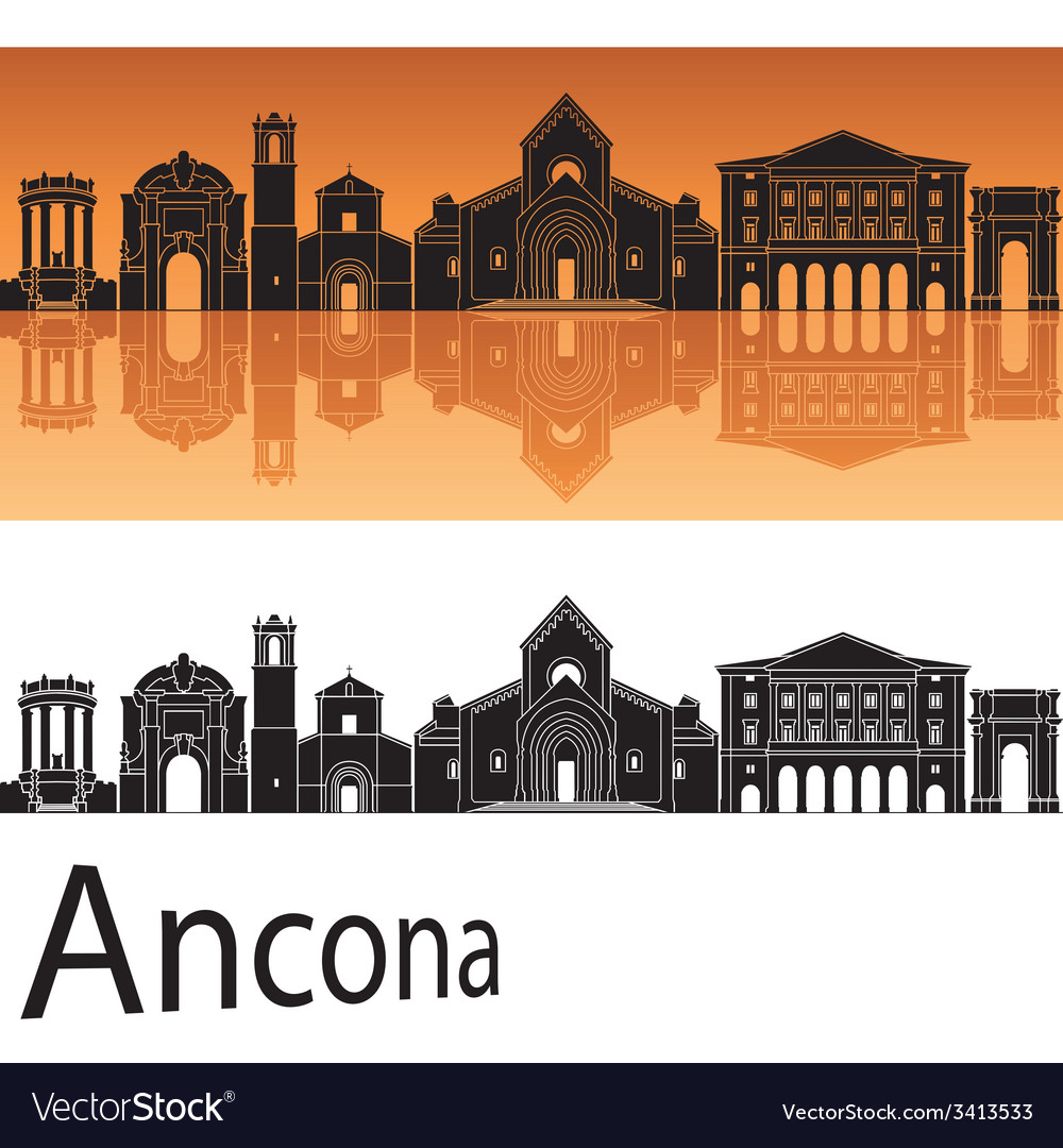 Ancona skyline in orange background vector | Price: 1 Credit (USD $1)