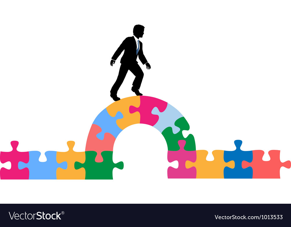 Business person puzzle bridge to solution vector | Price: 1 Credit (USD $1)