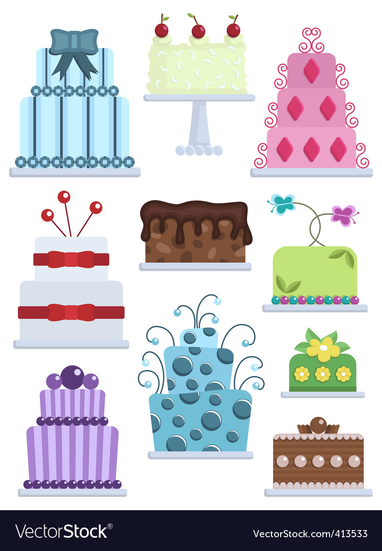Decorated cakes vector | Price: 1 Credit (USD $1)