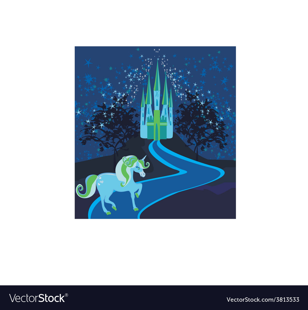 Fairytale landscape with magic castle and unicorn vector | Price: 1 Credit (USD $1)