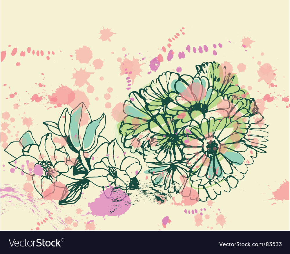 Grunge flowers vector | Price: 1 Credit (USD $1)