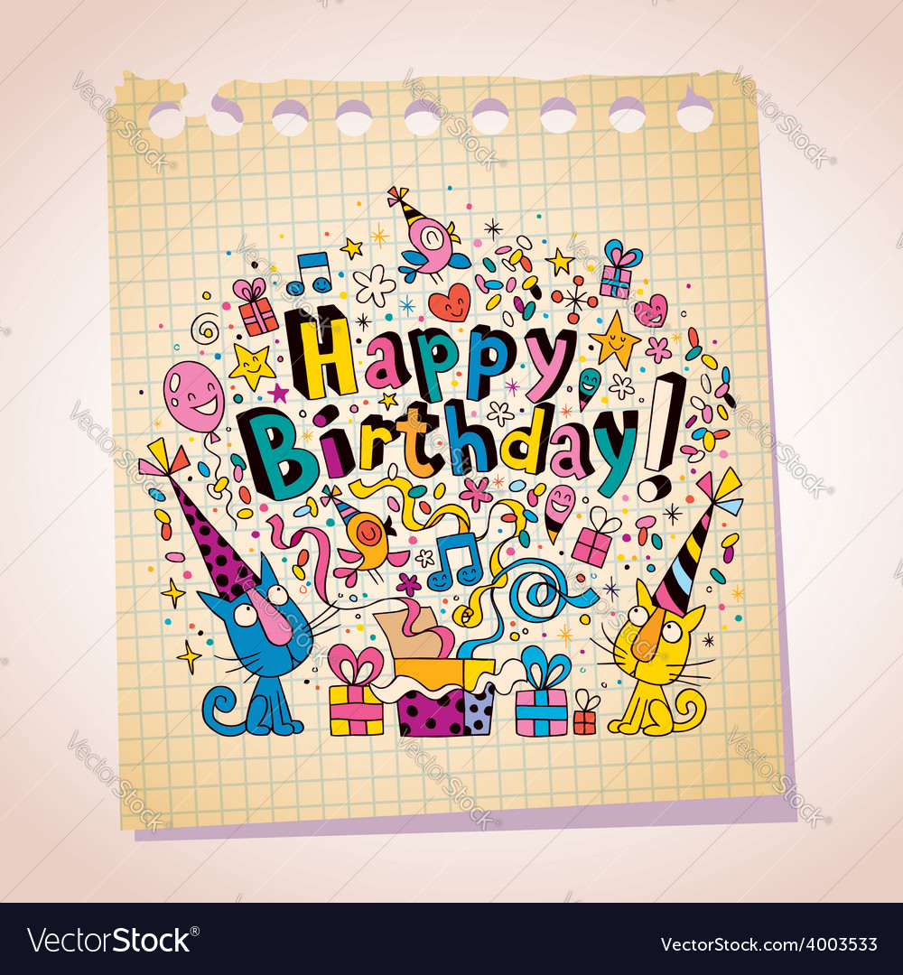 Happy birthday cute kittens note paper cartoon vector | Price: 1 Credit (USD $1)