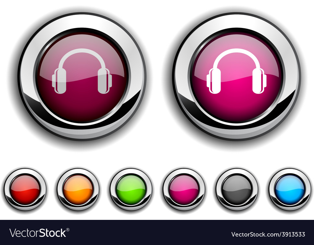 Headphones button vector | Price: 1 Credit (USD $1)