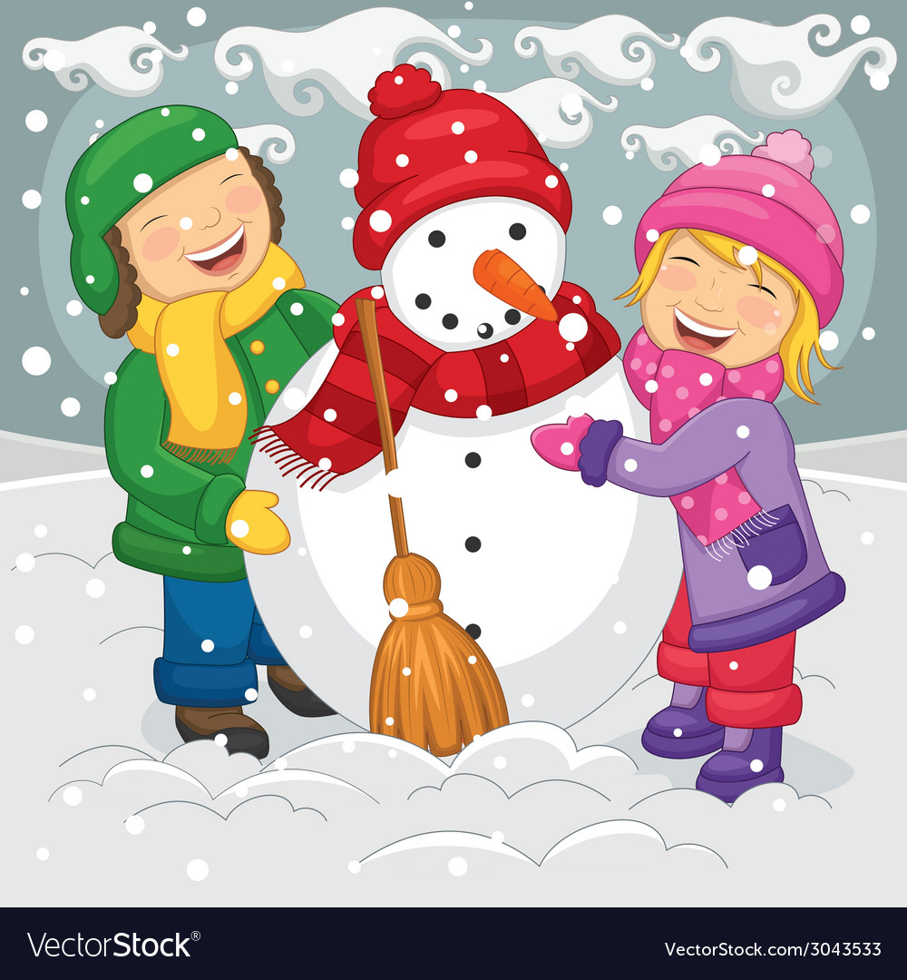 Of kids making snowman vector | Price: 1 Credit (USD $1)