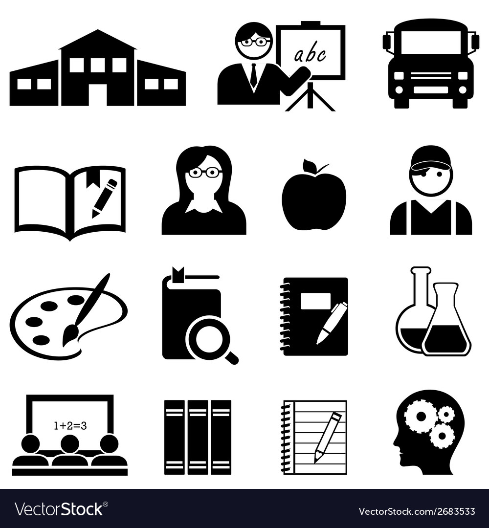 School learning and educaiton icons vector