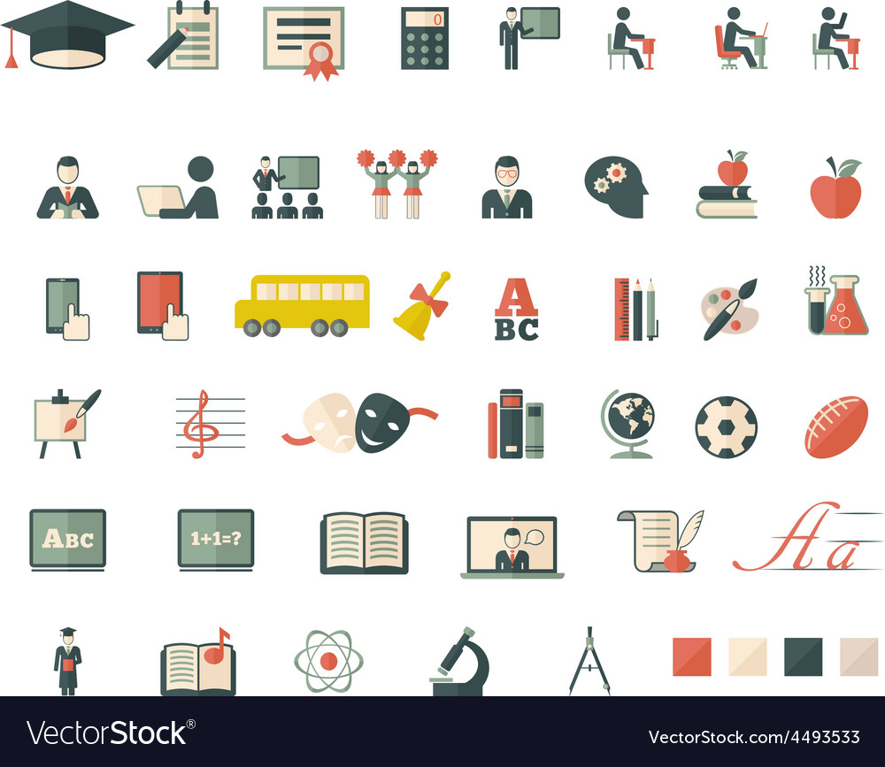 Set of school and education flat icons vector | Price: 1 Credit (USD $1)