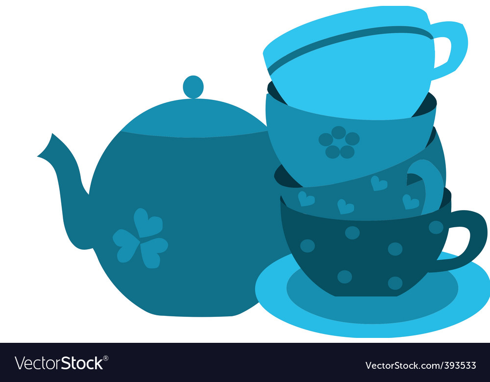 Tea pot with cup set vector | Price: 1 Credit (USD $1)