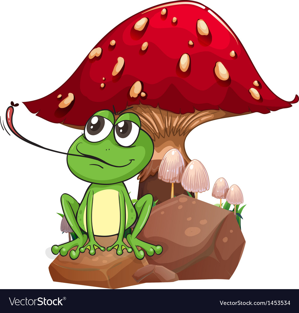 A frog catching a fly near the giant mushroom vector | Price: 1 Credit (USD $1)
