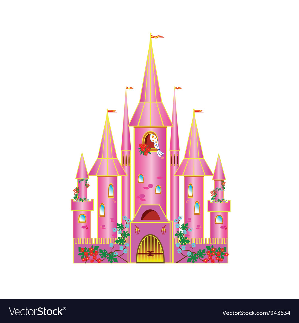 Cartoon pink castle vector | Price: 1 Credit (USD $1)