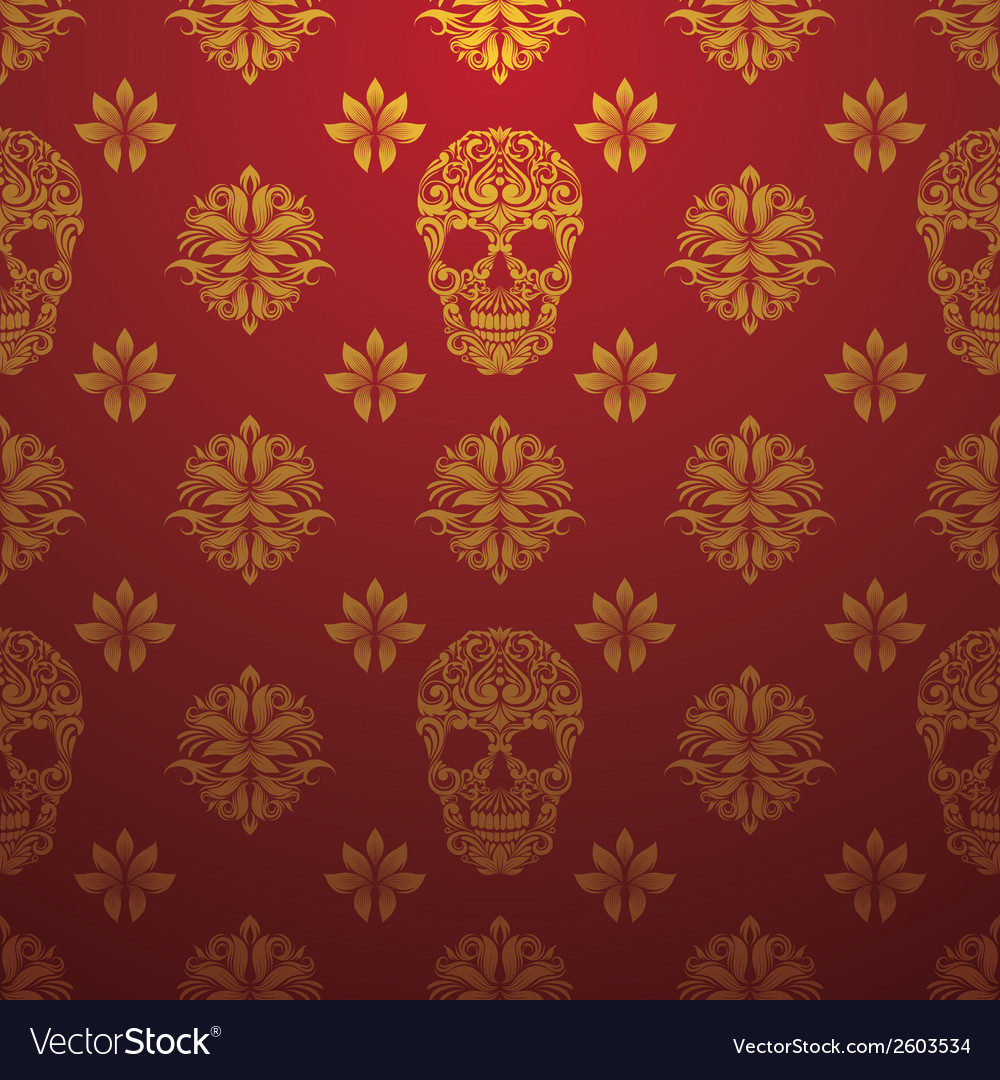 Gold skull ornamental pattern vector | Price: 1 Credit (USD $1)