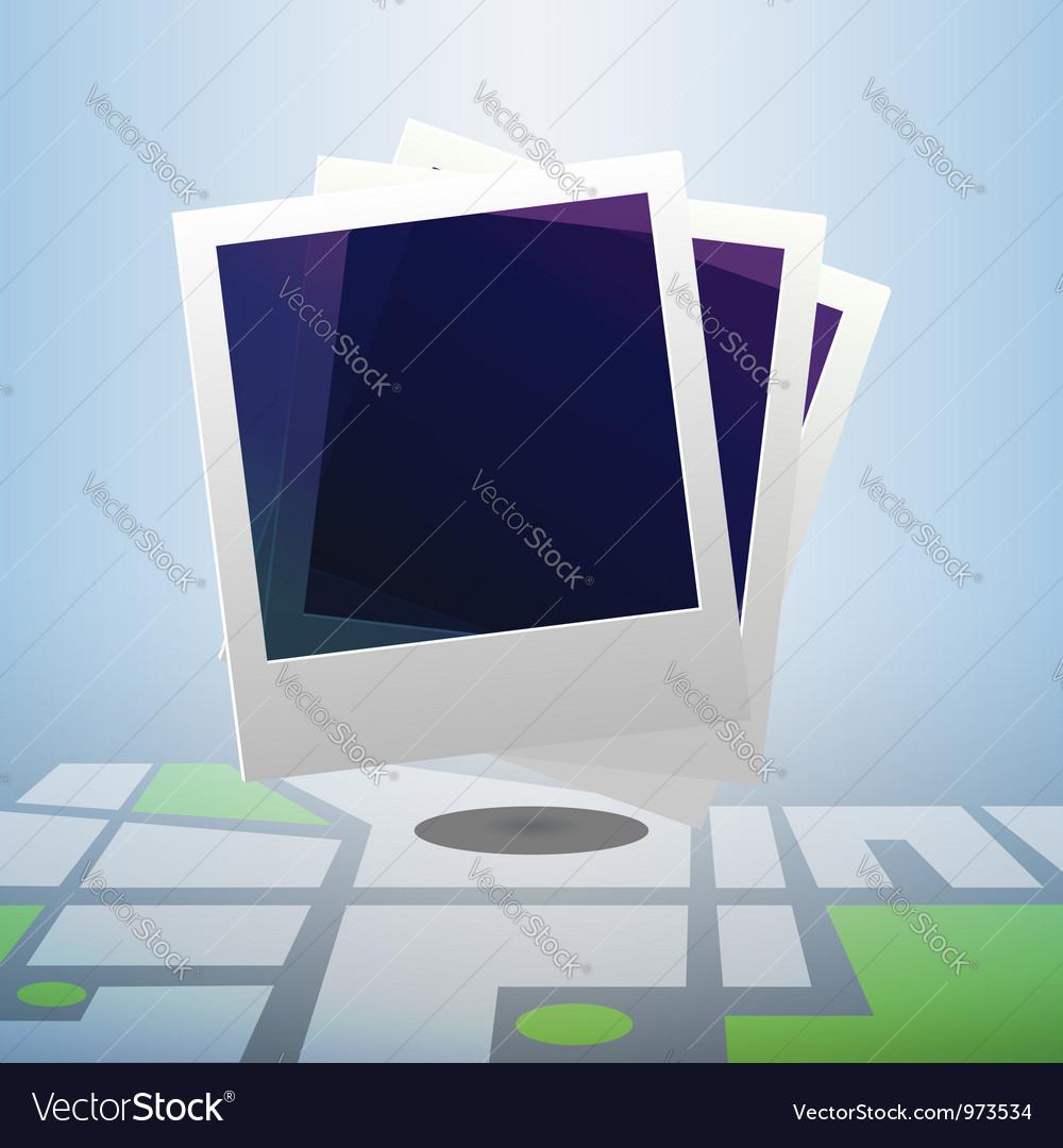 Polaroid icon on block street map vector | Price:  Credit (USD $)
