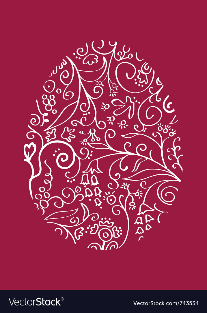 Red lacy easter egg vector | Price: 1 Credit (USD $1)