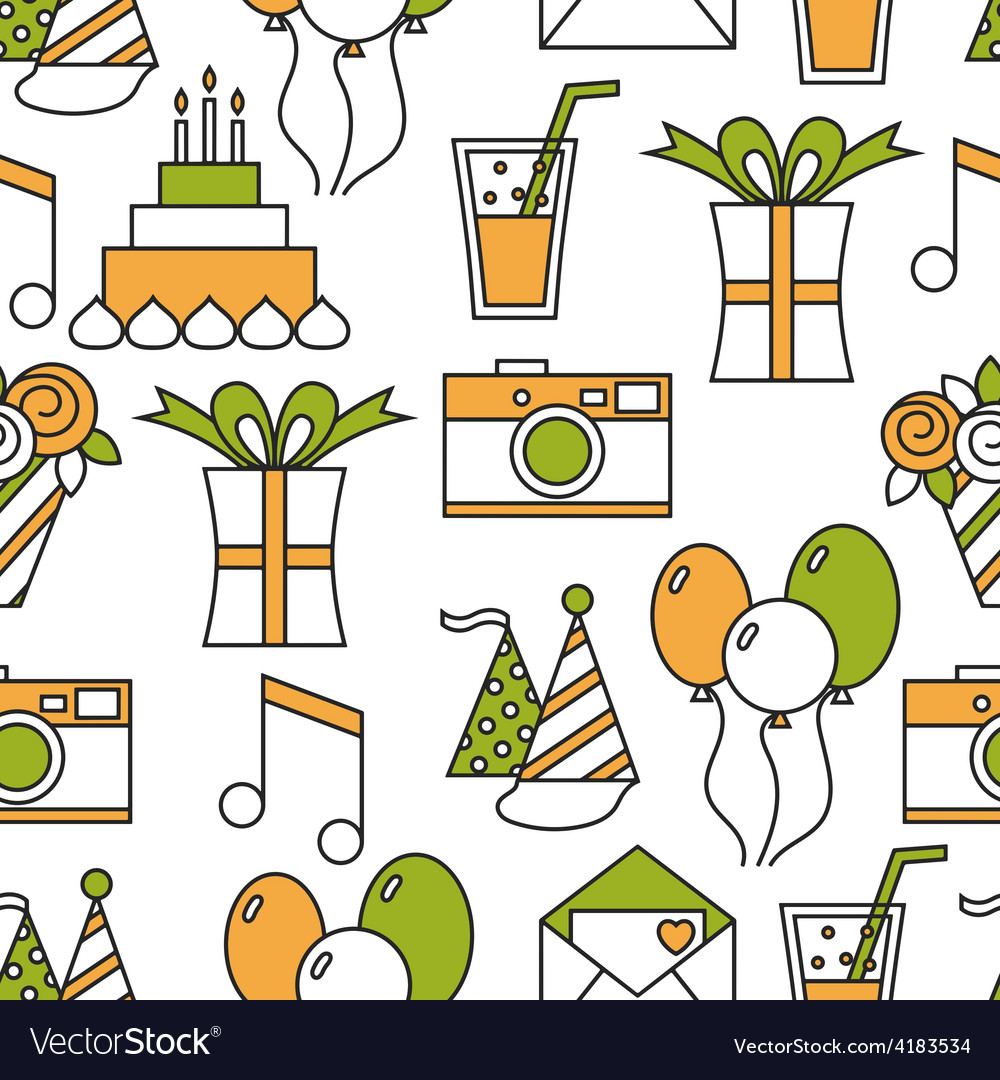 Seamless holiday pattern happy birthday vector | Price: 1 Credit (USD $1)