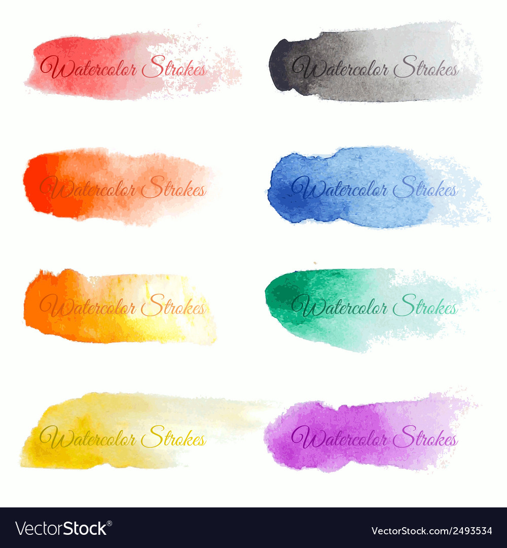 Set of colorful brush strokes vector   Price: 1 Credit (USD $1)