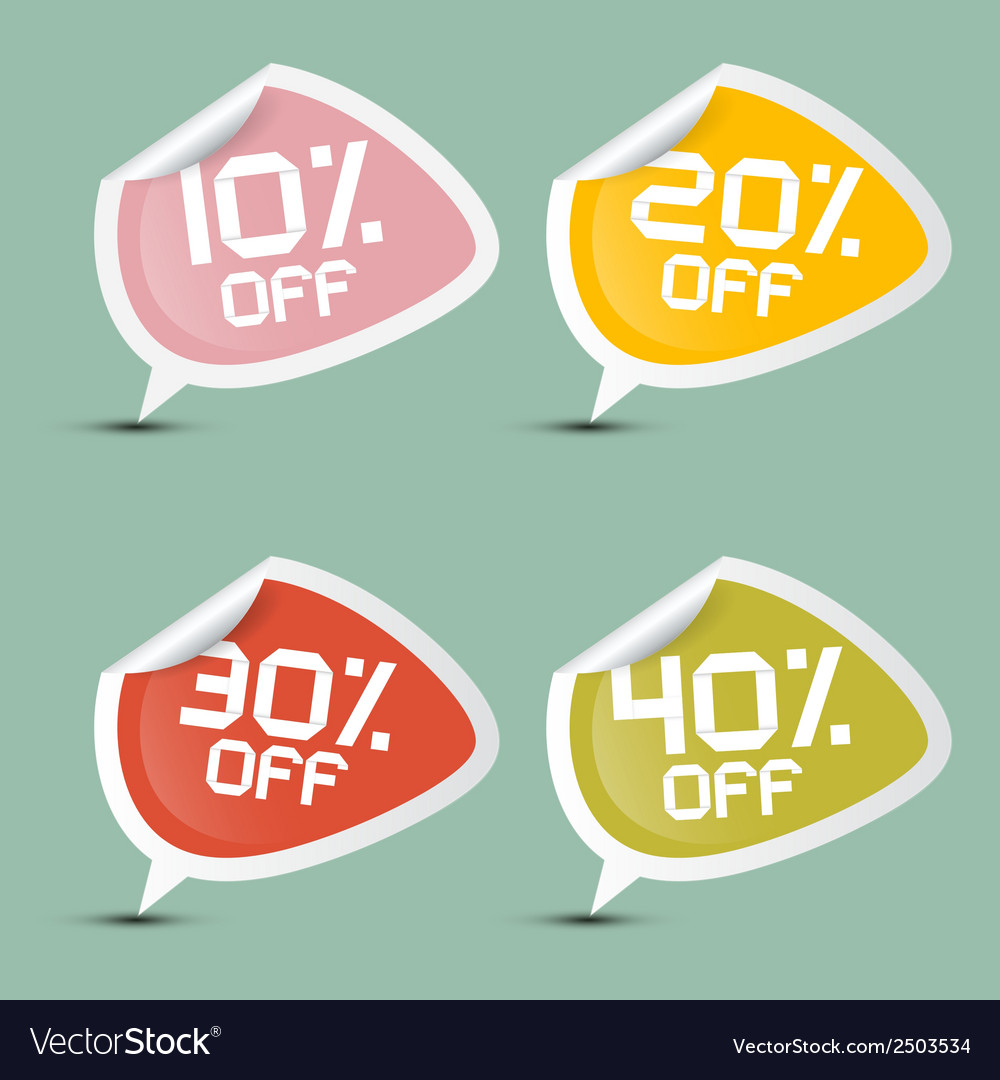 Ten - twenty thirty and forty percent off discount vector | Price: 1 Credit (USD $1)