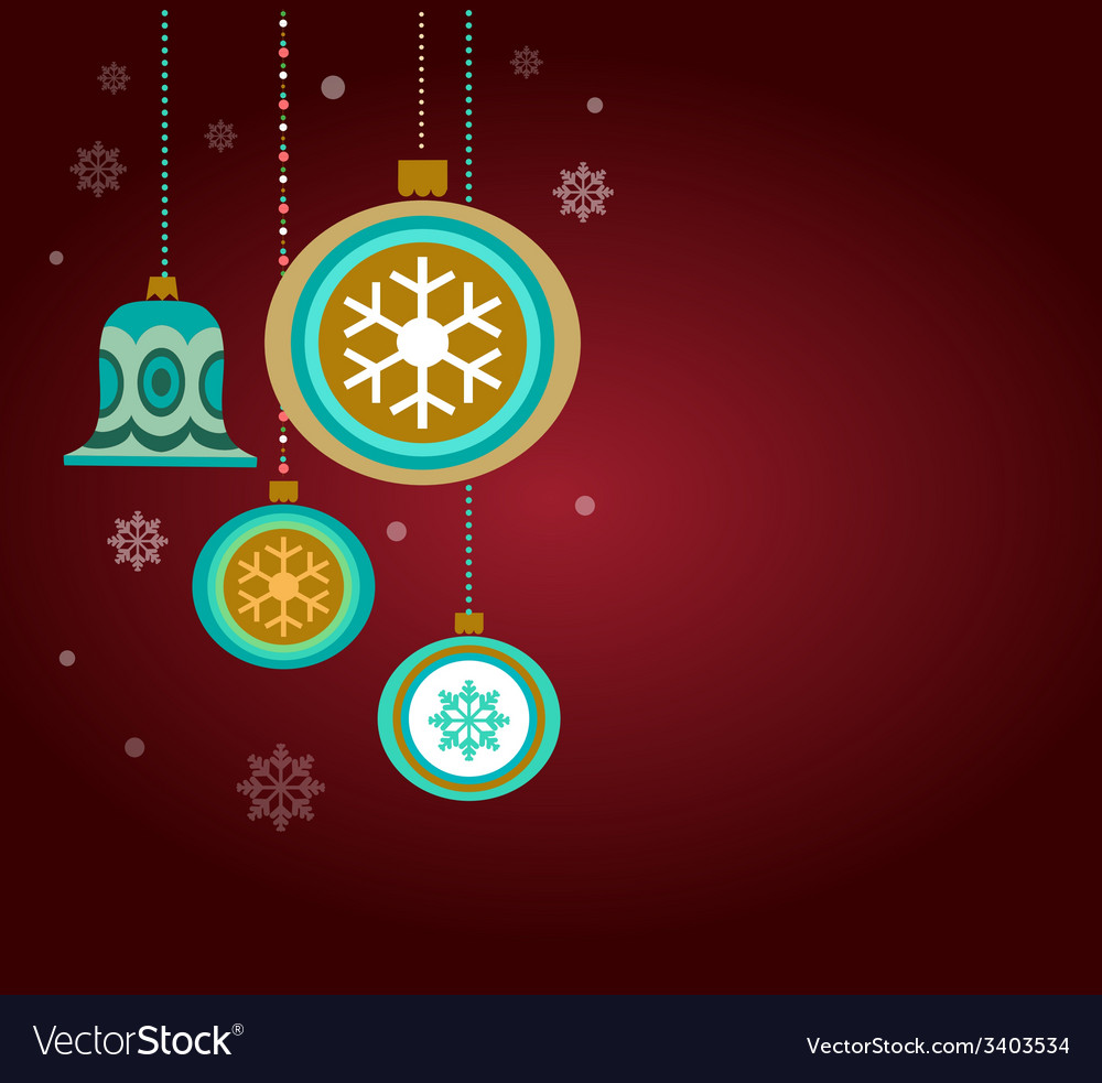 Vintage card with christmas balls vector | Price: 1 Credit (USD $1)