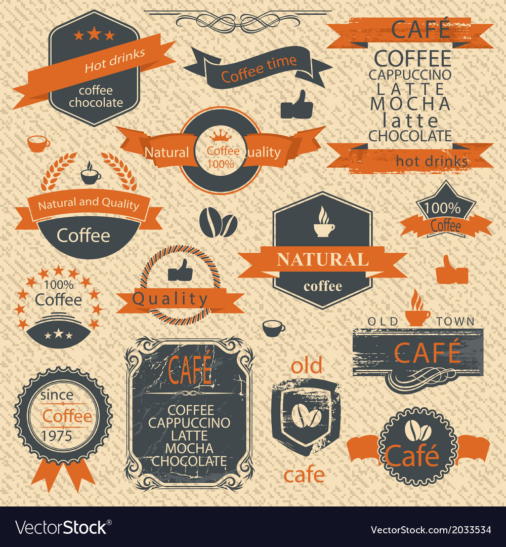 Vintage-coffee-stamps-and-label-design-backgrounds-vector