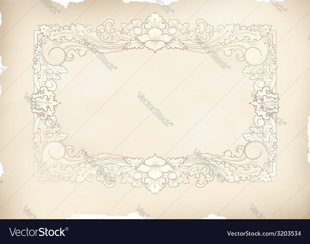 Vintage frame old paper drawing vector | Price: 1 Credit (USD $1)