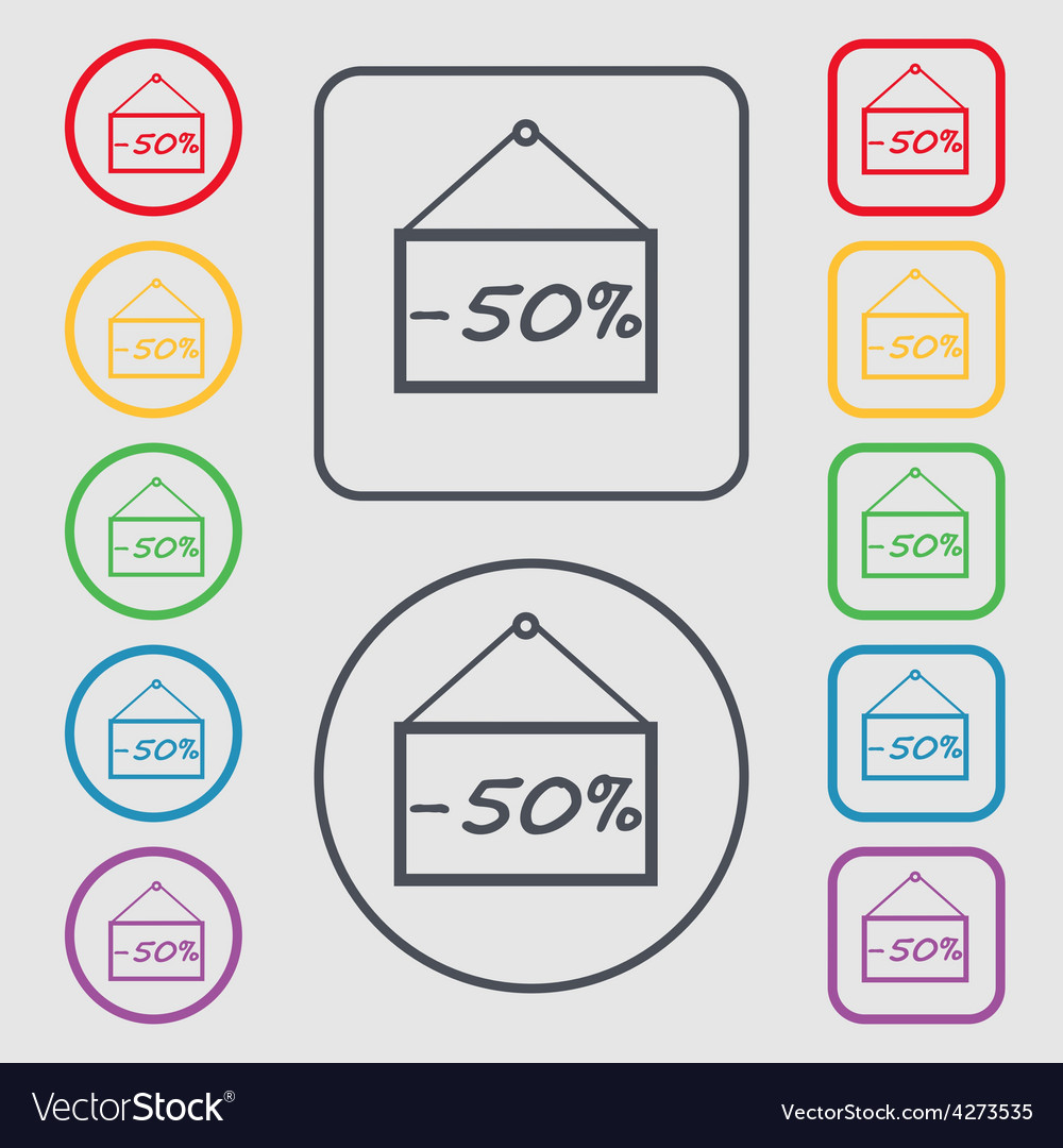 50 discount icon sign symbol on the round and vector | Price: 1 Credit (USD $1)