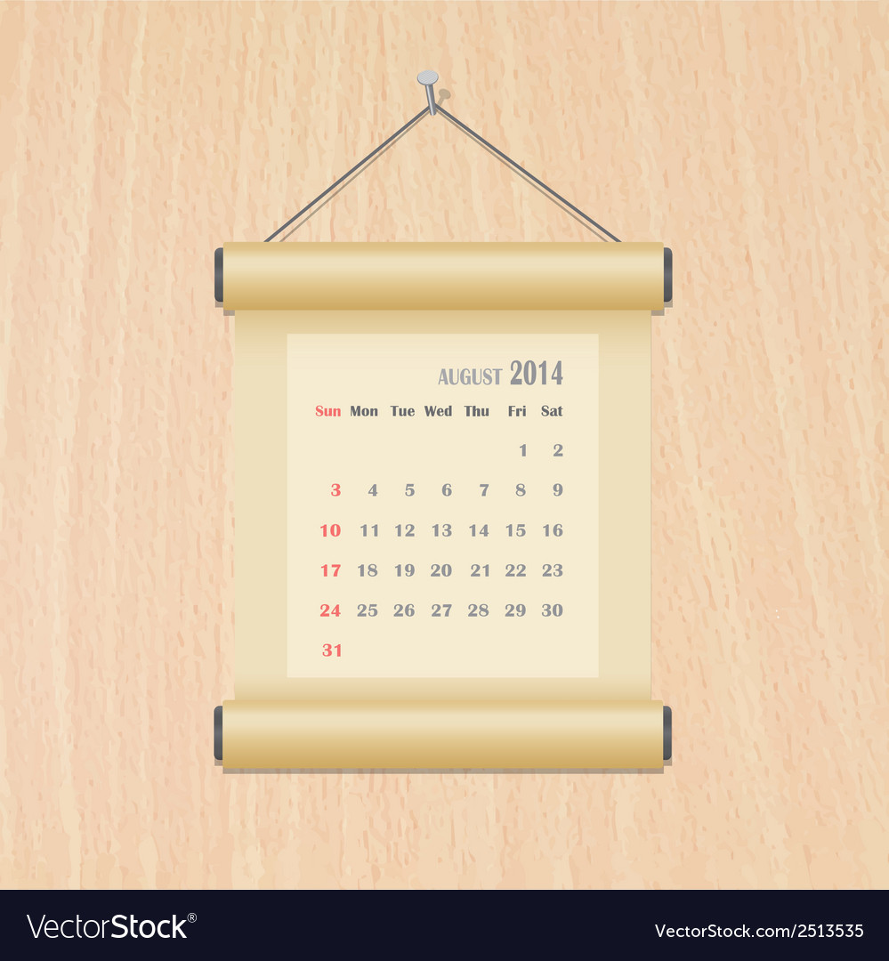 August2014 calendar on wood wall vector | Price: 1 Credit (USD $1)