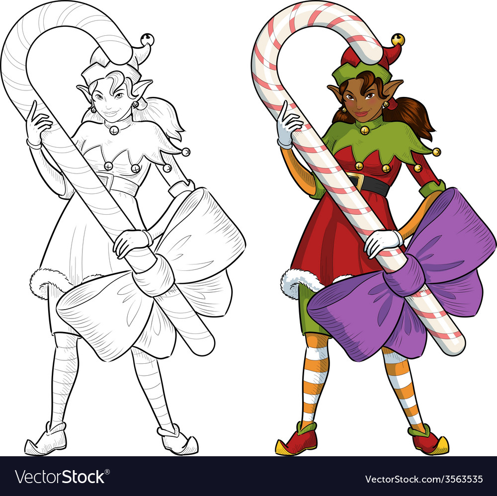 Christmas elf african american girl with candy vector | Price: 1 Credit (USD $1)