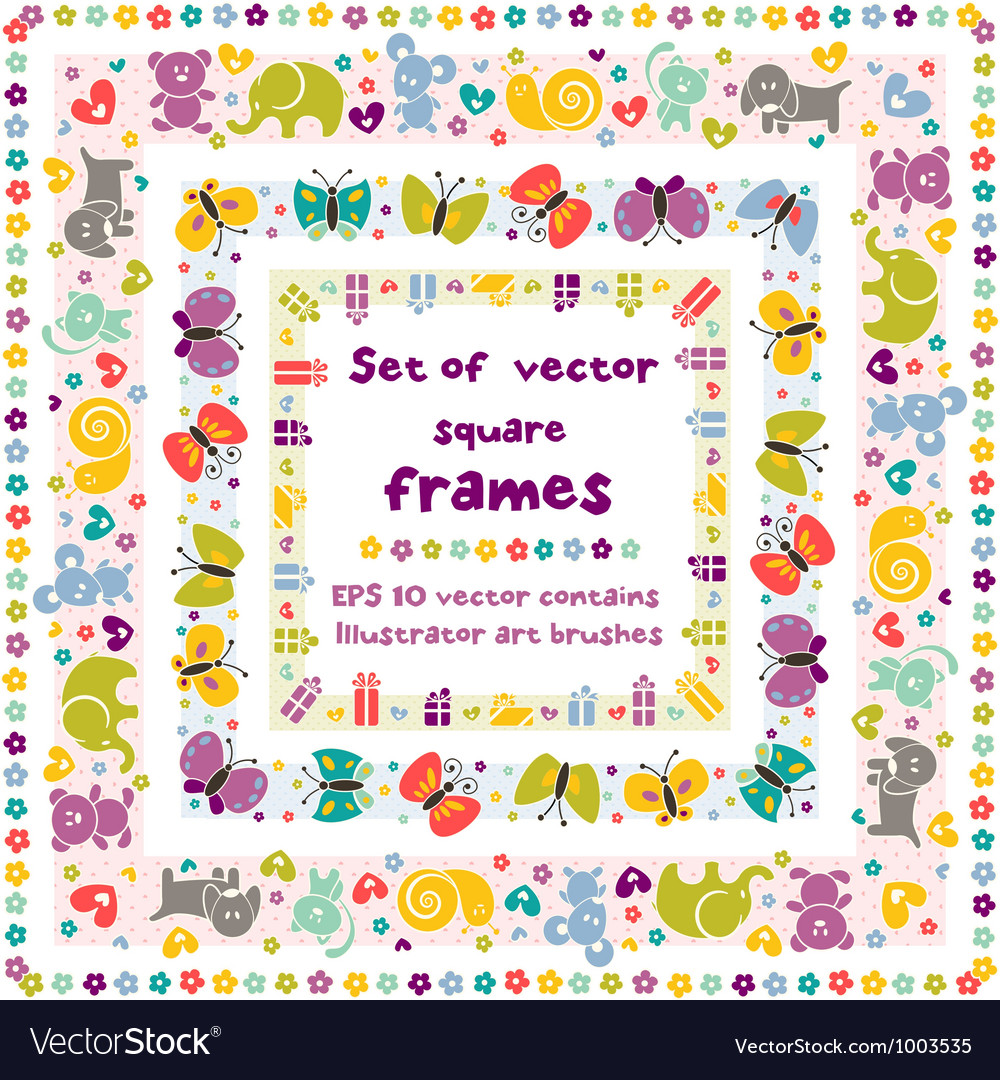 Cute frames with baby icons vector | Price: 1 Credit (USD $1)