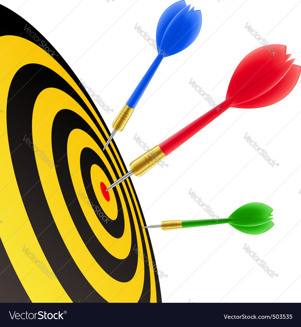 Darts hitting the target vector | Price: 1 Credit (USD $1)