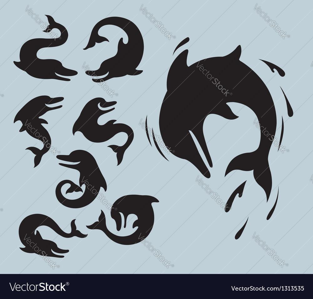 Dolphin silhouette symbols vector | Price: 1 Credit (USD $1)