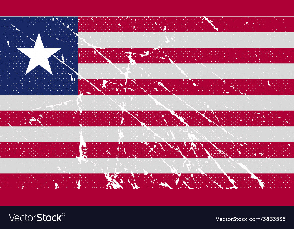 Flag of liberia with old texture vector | Price: 1 Credit (USD $1)