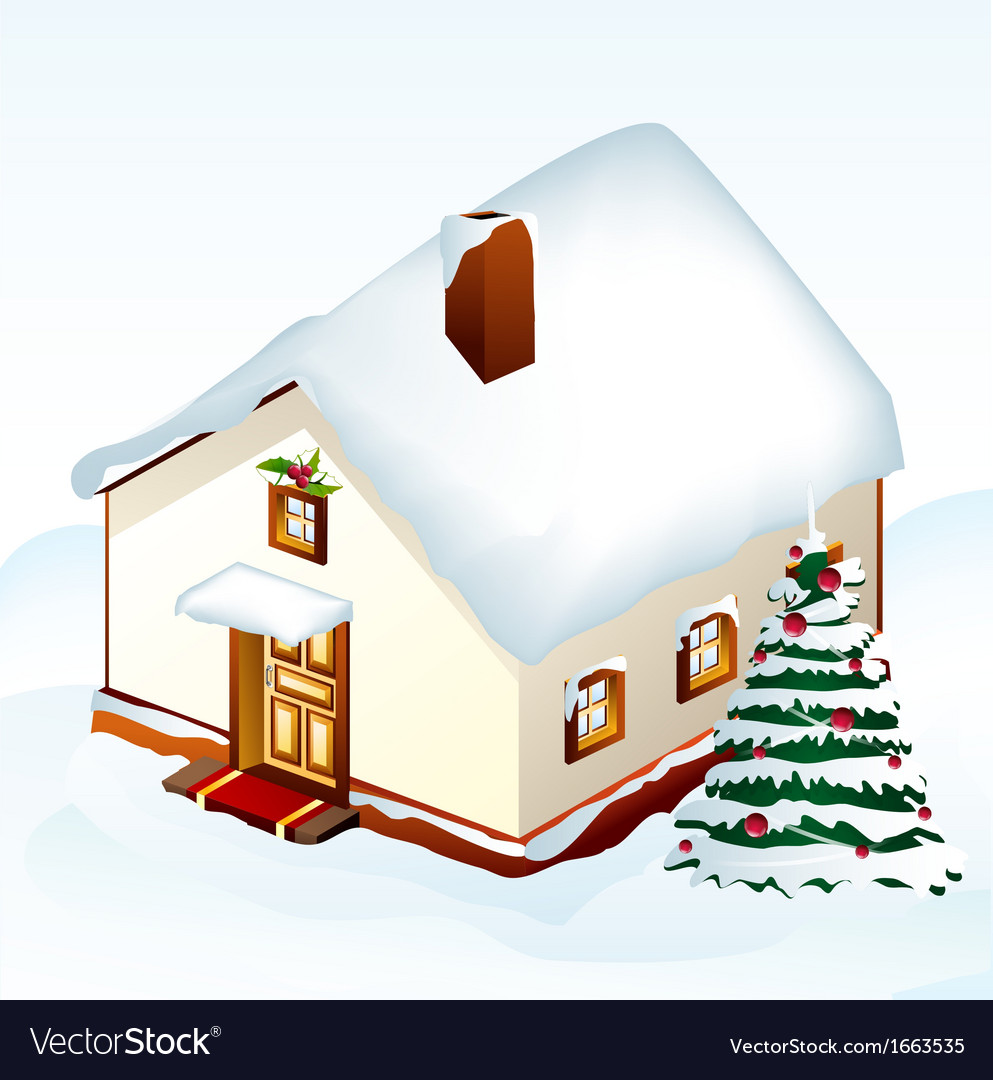 Gingerbread house with tree vector | Price: 1 Credit (USD $1)