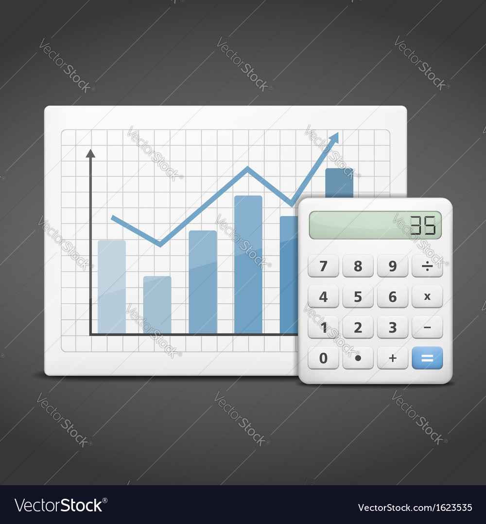 Graph with calculator vector | Price: 1 Credit (USD $1)