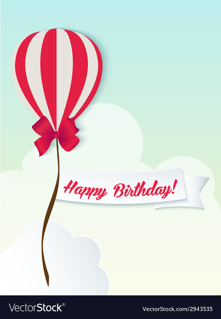 Happy birthday ballons greeting card red paper vector | Price: 1 Credit (USD $1)