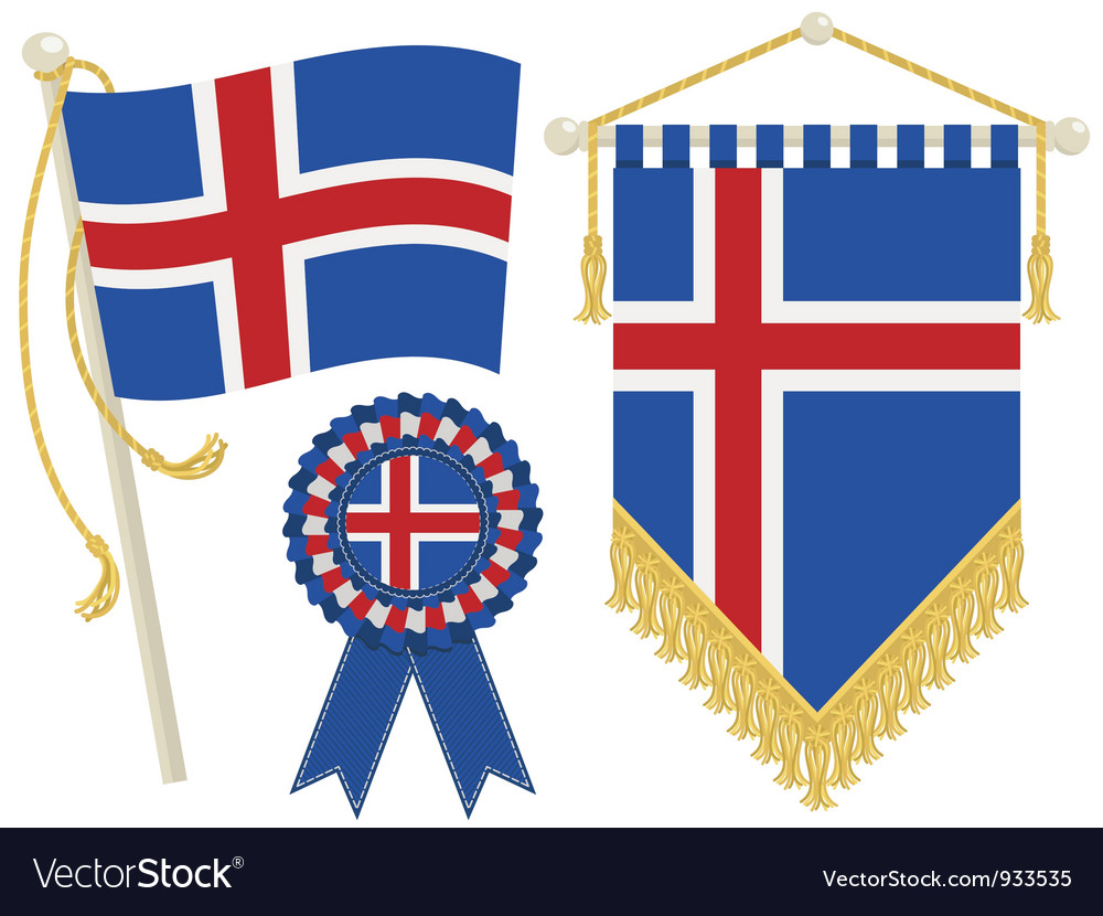 Iceland flags vector | Price: 1 Credit (USD $1)