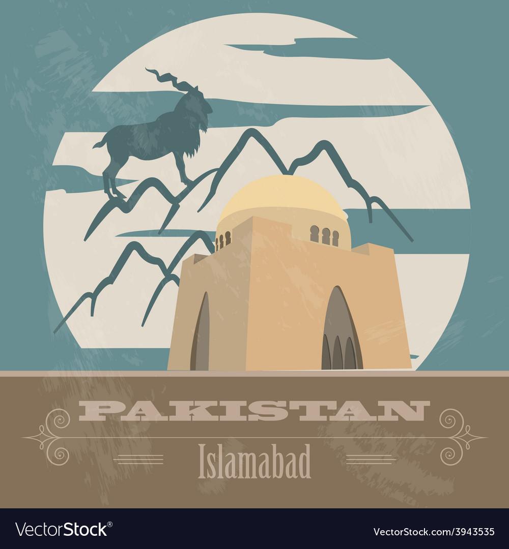 Pakistan landmarks retro styled image vector | Price: 1 Credit (USD $1)