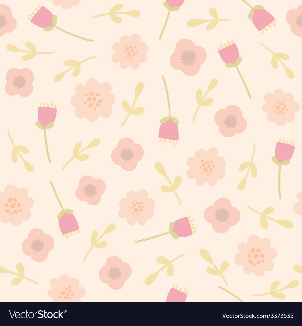 Pink floral seamless pattern vector   Price: 1 Credit (USD $1)