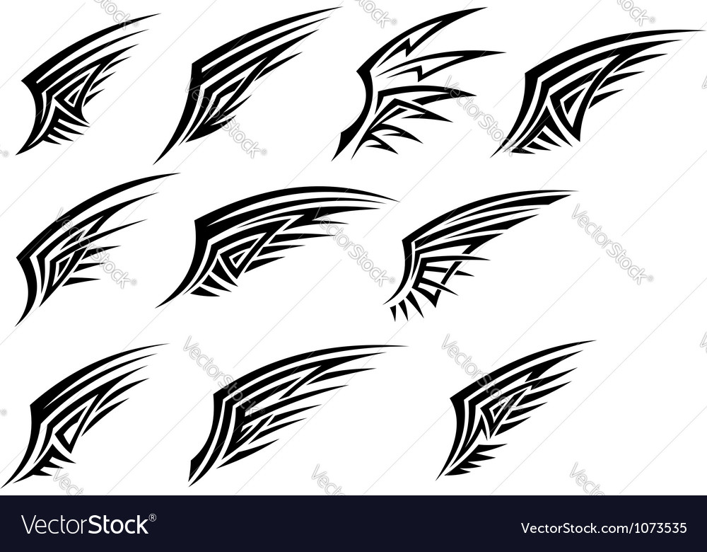 Set of black tribal wing tattoos vector | Price: 1 Credit (USD $1)