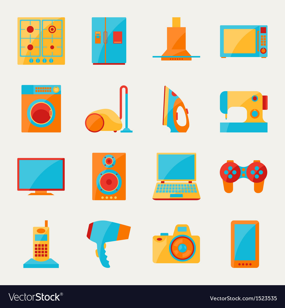 Set of home appliances and electronics icons vector   Price: 1 Credit (USD $1)