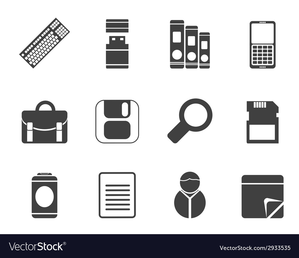 Silhouette business and office tools icons vector | Price: 1 Credit (USD $1)